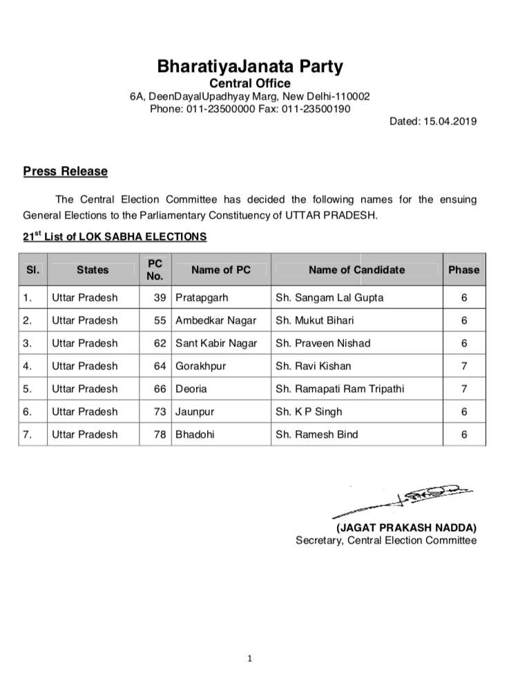 Bhadohi bjp candidate
